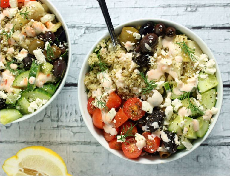 Loaded Greek-Style Quinoa Bowls