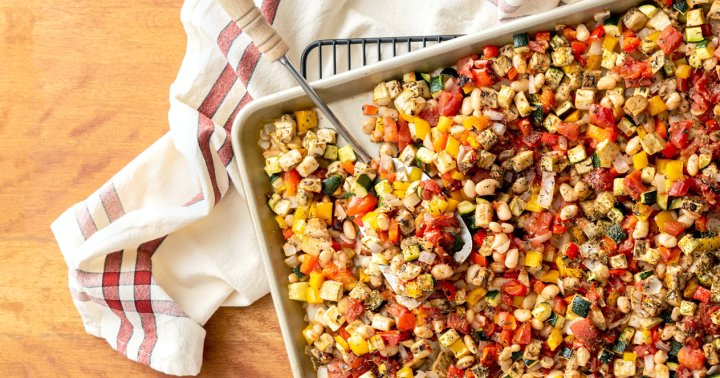 These Sheet-Pan Provençale Vegetables Have A Plant-Based Protein Punch
