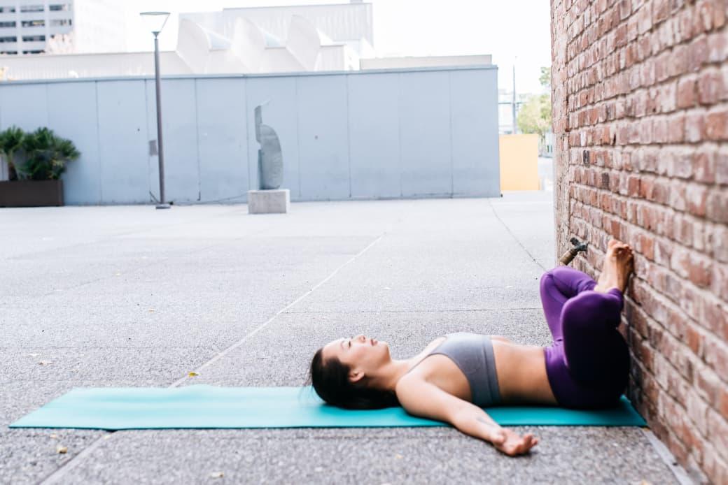 supine bow angle yoga pose