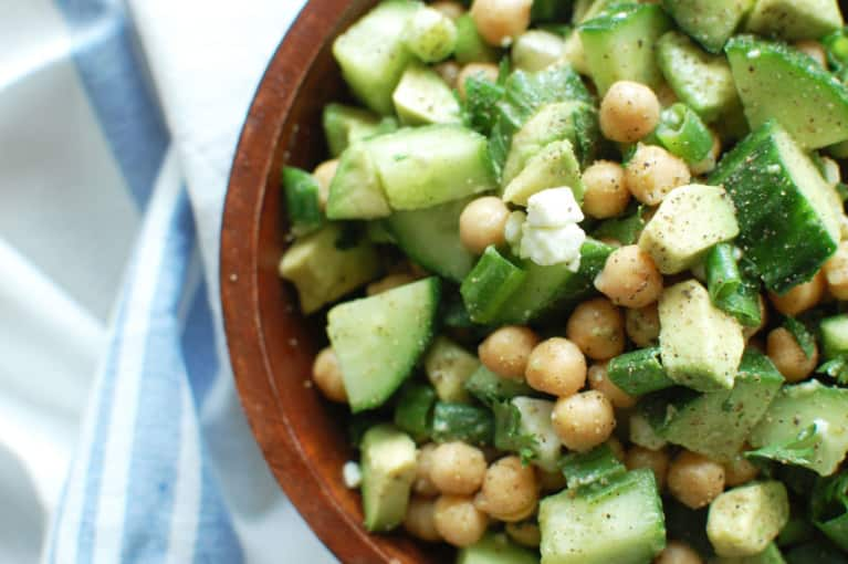 Chickpea, Cucumber + Avocado Salad For A Refreshing Lunch