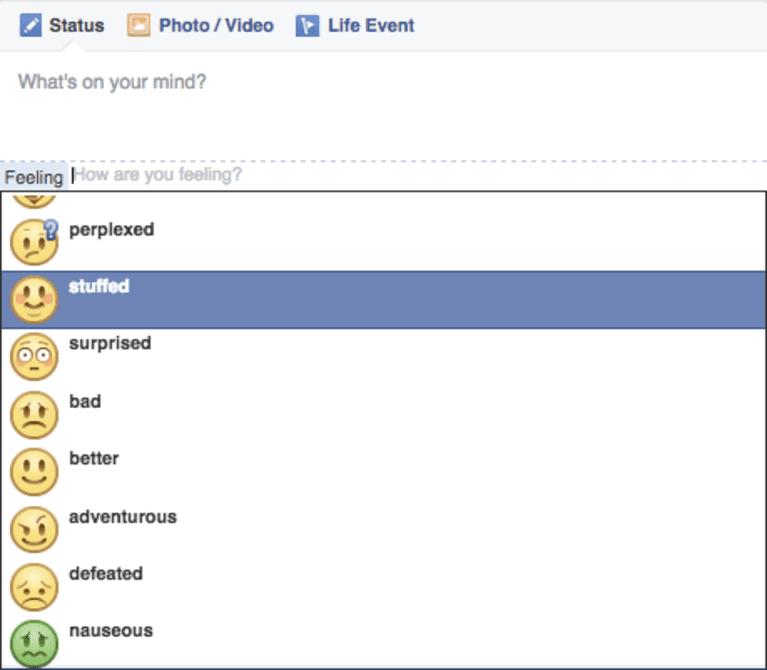 """Feeling Nostalgic Facebook Status: Facebook Finally Removes """"Feeling Fat"""" As A Status Option"""