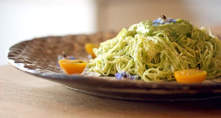 Zucchini noodles with avocado dressing mindbodygreen its easy and fun to turn zucchini into pasta and ill tell you how in a moment but first lets talk about this amazing raw and vegan avocado dressing forumfinder Gallery