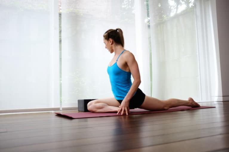 Pigeon Pose Stretches The Abductors Of Front Leg IT Band Quads And Hip Flexors Shin Top Foot Back