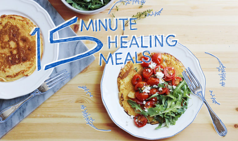 15-Minute Healing Meals: Chickpea Pancakes With Roasted Tomatoes Hero Image