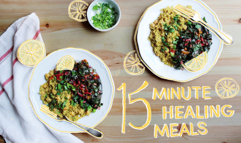 15-Minute Healing Meals: Garlic Greens + Curried Quinoa Hero Image