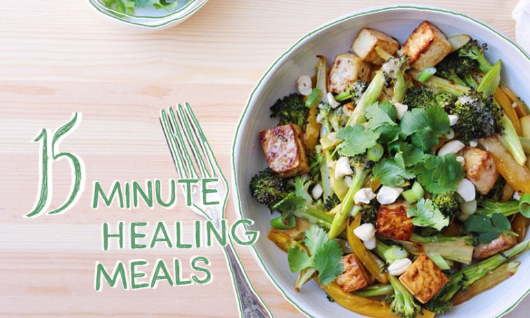 15-Minute Healing Meal: Roasted Broccoli + Tofu Bowls With Miso Dressing Hero Image