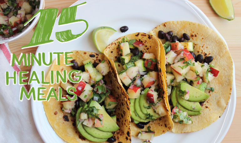 Black Bean + Summer Squash Tacos With Sweet Nectarine Salsa Hero Image
