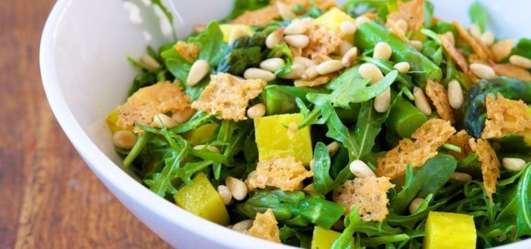 Asparagus, Arugula & Beet Salad With Parmesan Crisps Hero Image