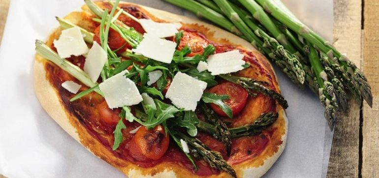 The Perfect Spring Pizza: Crispy Kale & Roasted Asparagus Hero Image
