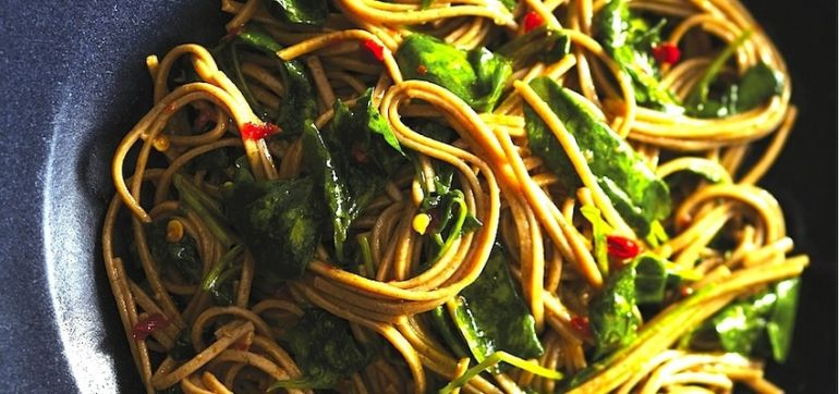 Spicy Soba Noodles With Wilted Watercress Hero Image