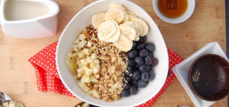 Gluten-Free Breakfast Cereal With Banana, Blueberries & Walnuts Hero Image