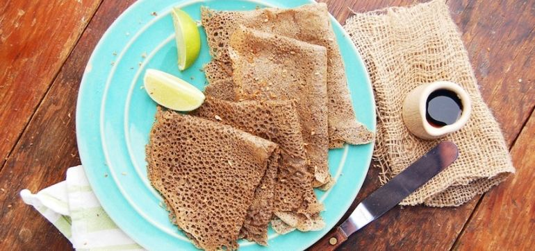 Gluten-Free Recipe: Crepes With Lime, Maple Syrup & Toasted Coconut Hero Image