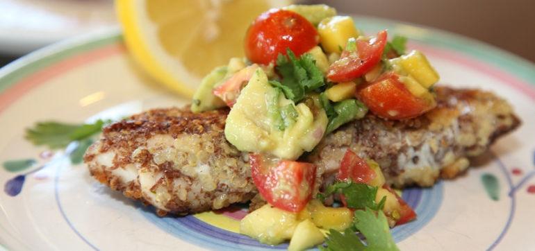 Gluten-Free Recipe: Crusted Tilapia & Mango-Avocado Salsa Hero Image