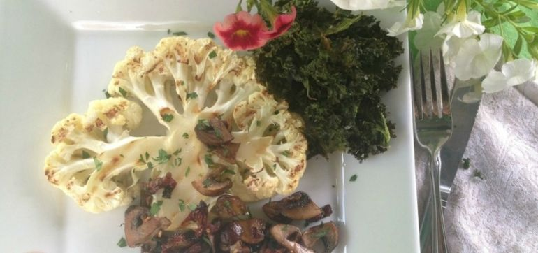 Grilled Cauliflower Steak With Mushrooms & Kale Chips Hero Image
