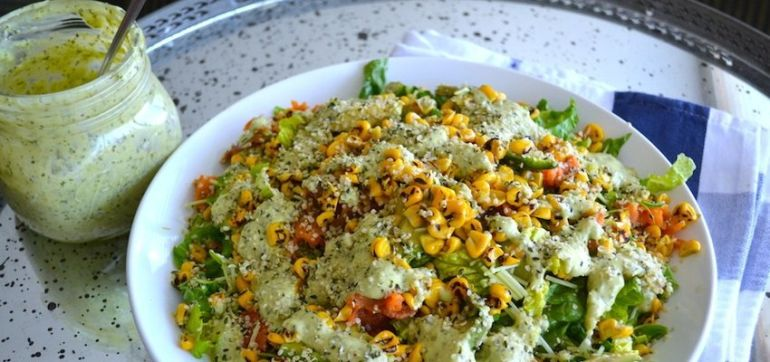 Southwest Grilled Corn Salad With Mexican Green Goddess Dressing Hero Image