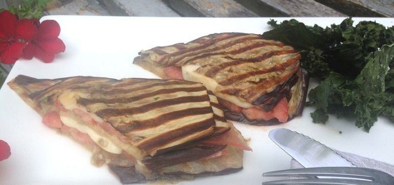 Gluten-Free Recipe: Grilled Eggplant Grilled Cheese Hero Image