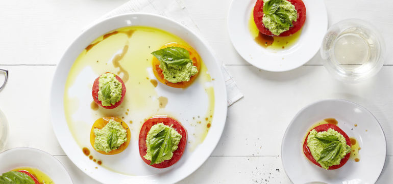"Herbed Pea ""Ricotta"" With Tomatoes & Basil Hero Image"