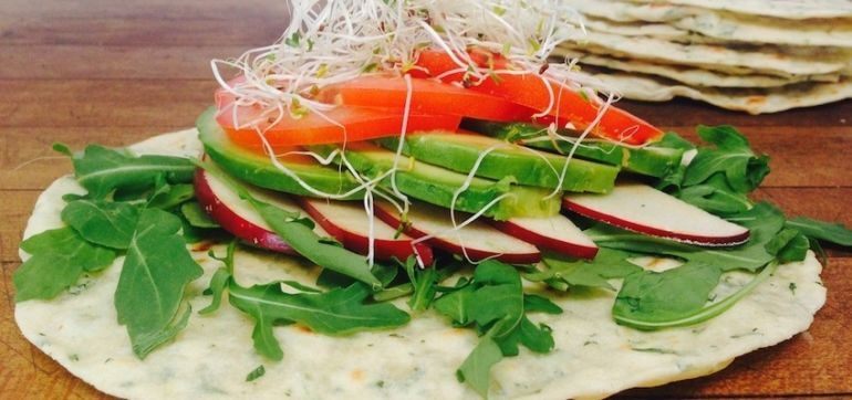 Homemade Herbed Tortillas With Avocado, Arugula & Apples (They're Vegan!) Hero Image