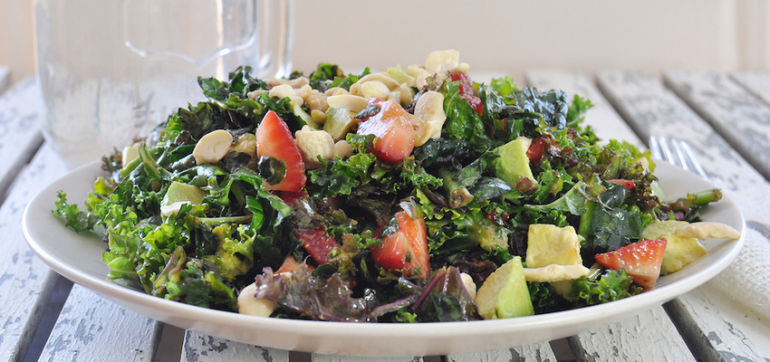 Simple Summer Salad With Strawberries & Kale Hero Image