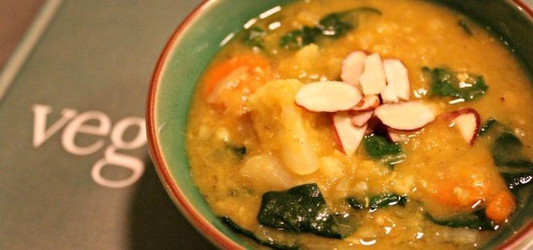 Curried Butternut Squash & Lentil Soup (It's Vegan!) Hero Image