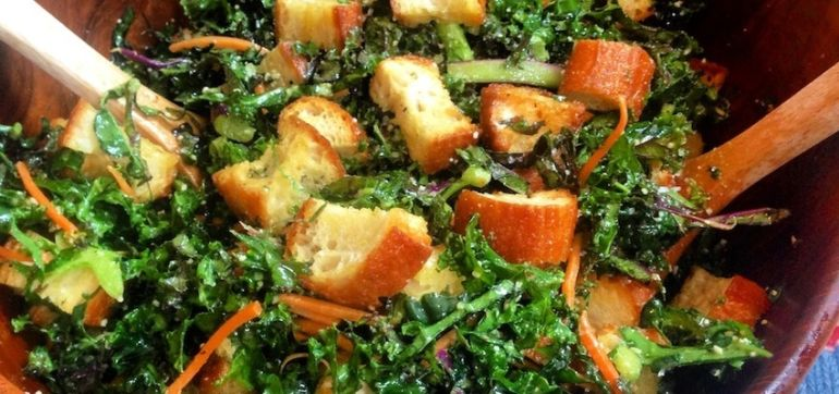 Vegetarian Kale Caesar Salad With Homemade Garlic Croutons Hero Image
