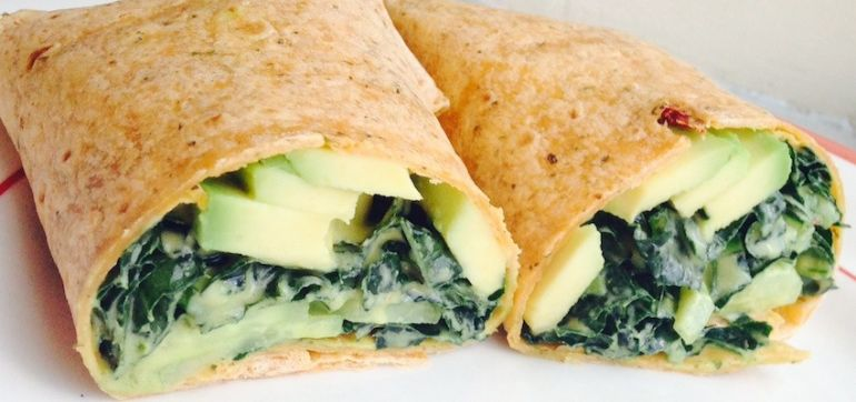 Perfect Weekday Lunch: Kale-Avocado Wrap With Dijon Dressing Hero Image