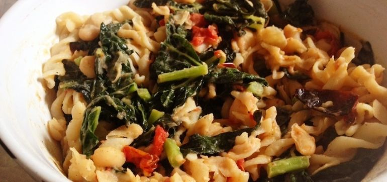Gluten-Free Recipe: Millet Pasta With Roasted Tomatoes & Kale Hero Image