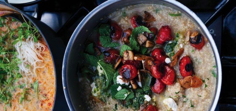 Quinoa Porridge With Grilled Tomatoes & Garlic Hero Image