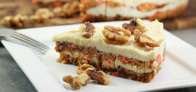 Raw Carrot Cake With Macadamia Frosting Hero Image