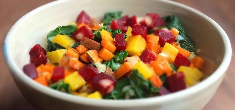 Roasted Beet, Sweet Potato & Kale Salad With Horseradish Dressing Hero Image