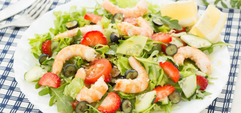 Perfect Summer Salad: Shrimp & Strawberry Salad With Walnut Vinaigrette Hero Image