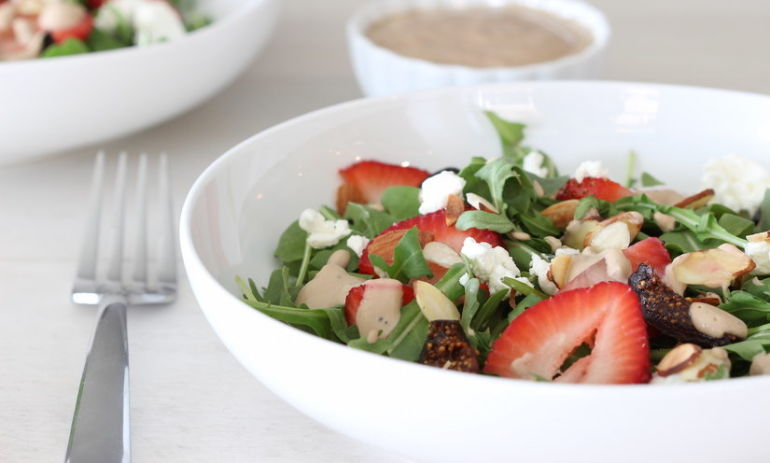 Strawberry Fig Salad with Creamy Balsamic Poppy Seed Dressing Hero Image