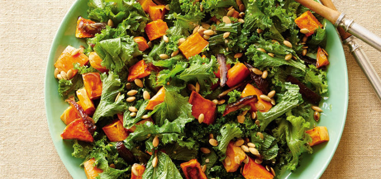 Kale & Maple-Roasted Sweet Potato Salad With Walnut Vinaigrette Hero Image