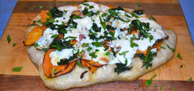 Autumn Pizza With Roasted Sweet Potatoes, Kale & Mozzarella Hero Image