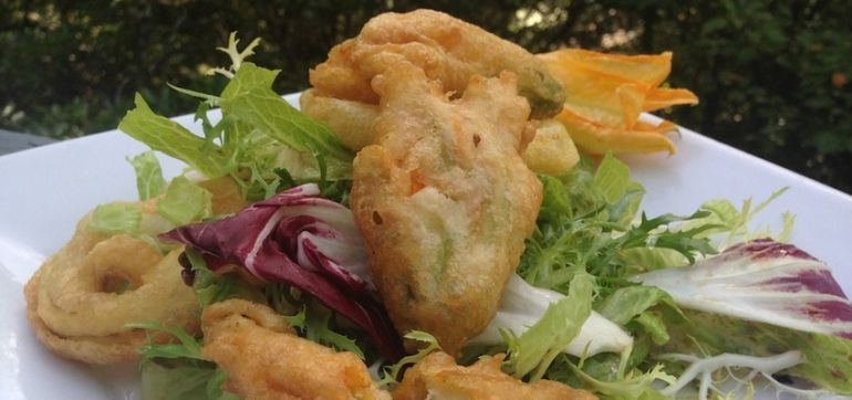 Veg Out With This Stuffed Zucchini Blossom Tempura Salad Hero Image