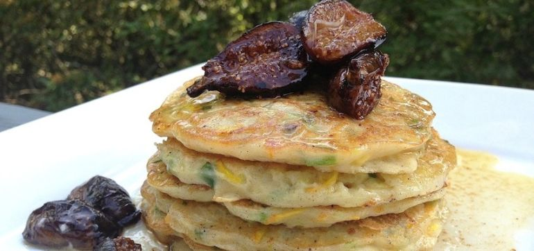 Gluten-Free Zucchini Pancakes With Sautéed Figs Hero Image