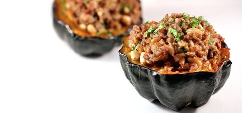 Bison Chili In An Acorn Squash Bowl Hero Image