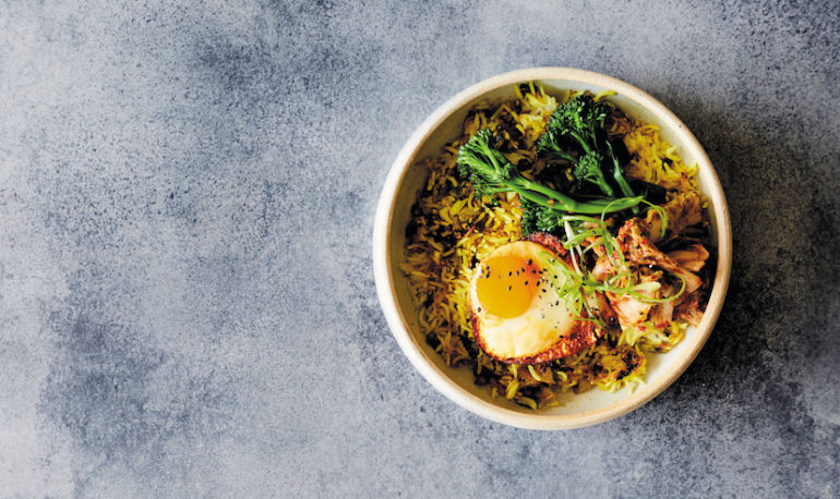 Anti-Inflammatory Breakfast: Ginger + Turmeric Rice Bowl With Kimchi Hero Image