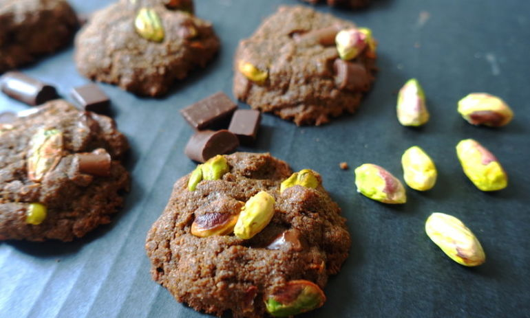 Gluten-Free + Vegan Double-Chocolate Pistachio Cookies Hero Image