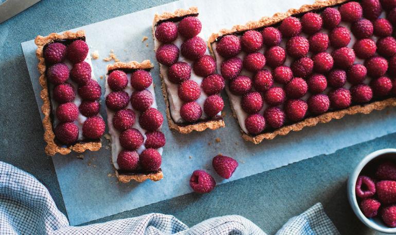 A Decadent Coconut Cream + Raspberry Tart —That Happens To Be Vegan Hero Image