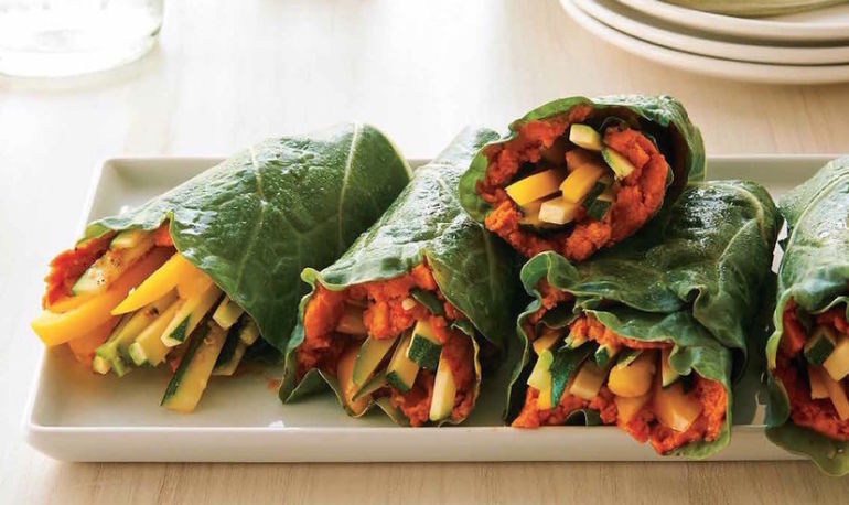 Eat Clean With These Tomato Hummus Collard Wraps Hero Image