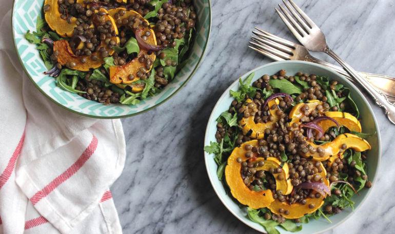 A Make-Ahead Lentil + Delicata Squash Salad Hero Image