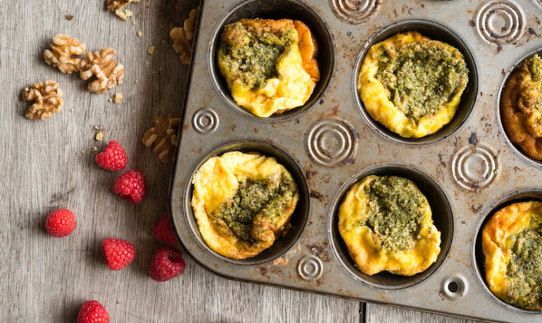 Low-Maintenance Basil Frittata Muffins For Those Mornings You Just Can't Even Hero Image