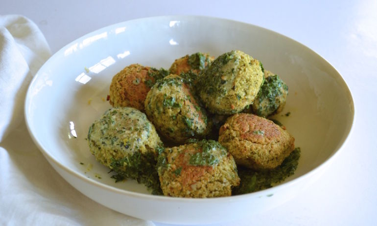 "Broccoli, White Bean + Ricotta ""Meatballs"" With Herbed Tahini Yogurt Hero Image"