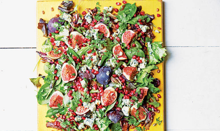 Step Up Your Salad Game With This Farro + Fig Salad Hero Image