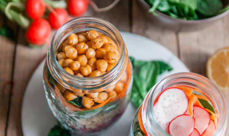 Meal Prep Made Easy: Carrot + Chickpea Mason Jar Salad Hero Image