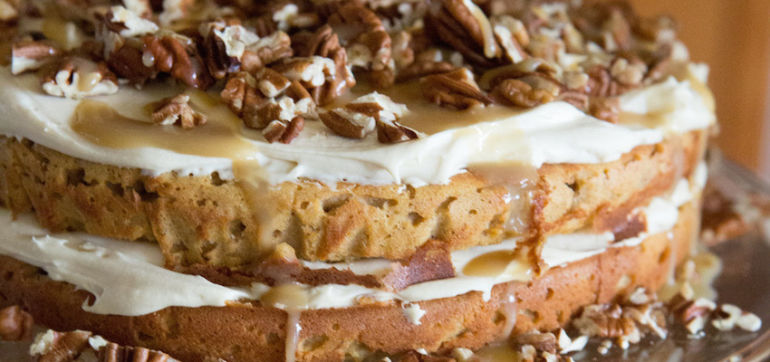 Grain-Free Pumpkin Torte With Cream Cheese Frosting & Caramel Hero Image