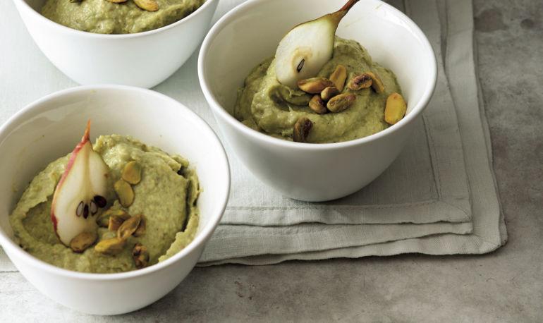 Go Green With Dessert: Vegan Pistachio + Pear Pudding Hero Image