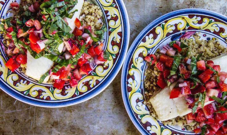 Roasted Halibut With Antioxidant-Rich Strawberry-Basil Salsa Hero Image