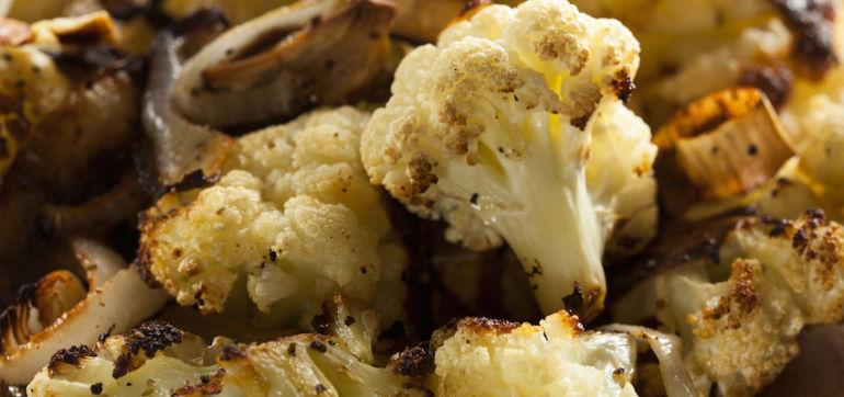 Roasted Cauliflower With Vegan Sweet Potato Cream Sauce Hero Image